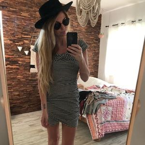 Zara gingham black & white minidress off shoulder